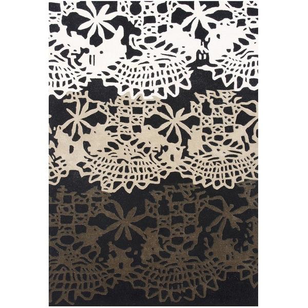 ZnZ Rug Gallery Handmade Black Wool Blend Area Rug - 5' x 8'