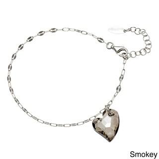 La Preciosa Sterling Silver Crystal Heart Charm Bracelet