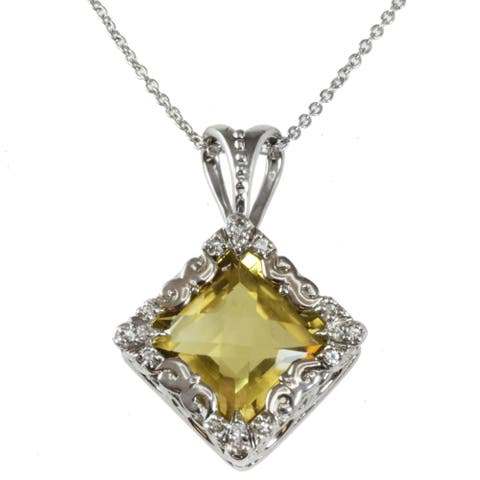 Michael Valitutti Oro Verde and White Sapphire Necklace