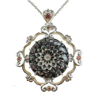 Michael Valitutti Two-tone Tahitian Shell, Pink Sapphire and Rhodolite Necklace