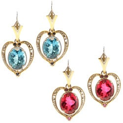 Michael Valitutti Two-tone Swiss Blue Topaz or Red Quartz and Sapphire Earrings