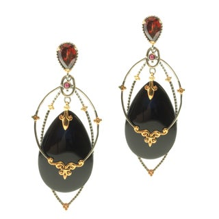 Michael Valitutti Two-tone Onyx, Garnet and Ruby Earrings