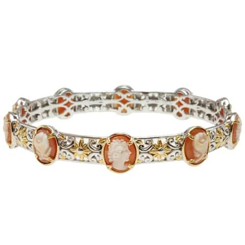 Michael Valitutti Palladium Silver Oval Lady Cameo Bangle Bracelet