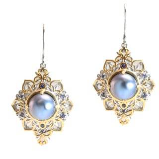Michael Valitutti Two-tone Mabe Pearl and Blue Sapphire Earrings (10.5-11 mm)