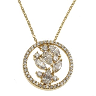 Michael Valitutti Signity Sterling Silver or Gold over Silver Cubic Zirconia Necklace