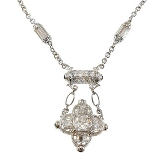Michael Valitutti Sterling Silver Cubic Zirconia and Created Blue Sapphire Necklace