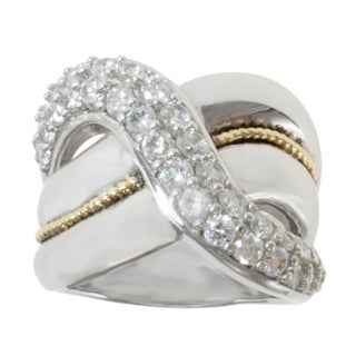 Michael Valitutti Sterling Silver and 14K Yellow Gold Cubic Zirconia Band-style Ring
