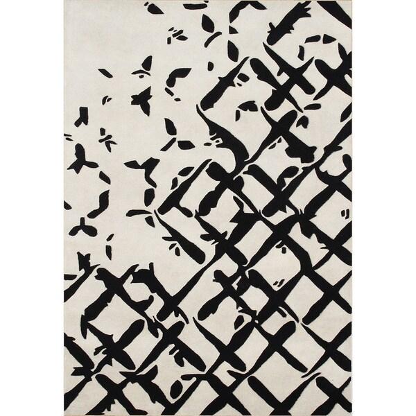 ZnZ Rug Gallery Handmade Creamy White Wool Blend Area Rug (5' x 8')