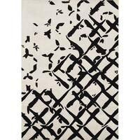 ZnZ Rug Gallery Handmade Creamy White Wool Blend Area Rug - 8' x 10'