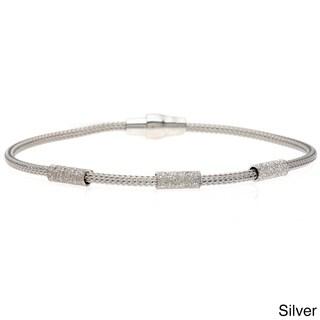 La Preciosa Sterling Silver Mesh and Diamond-cut Bracelet