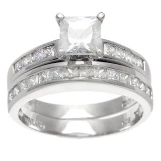 La Preciosa Sterling Silver Princess-cut CZ Bridal-style Ring Set