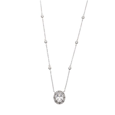 La Preciosa Sterling Silver Cubic Zirconia Bridal Necklace