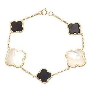 La Preciosa Gold over Silver Mother of Pearl and Onyx Clover Bracelet