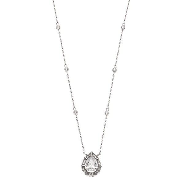La Preciosa Sterling Silver Cubic Zirconia Bridal Necklace