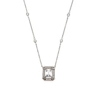 La Preciosa Sterling Silver Cubic Zirconia Rectangular Bridal Necklace