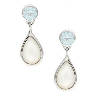 La Preciosa Sterling Silver Blue Topaz and Mother of Pearl Earrings