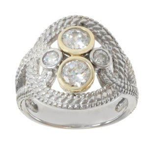 Michael Valitutti Sterling Silver and 14K Yellow Gold Bezel-set White Cubic Zirconia Ring