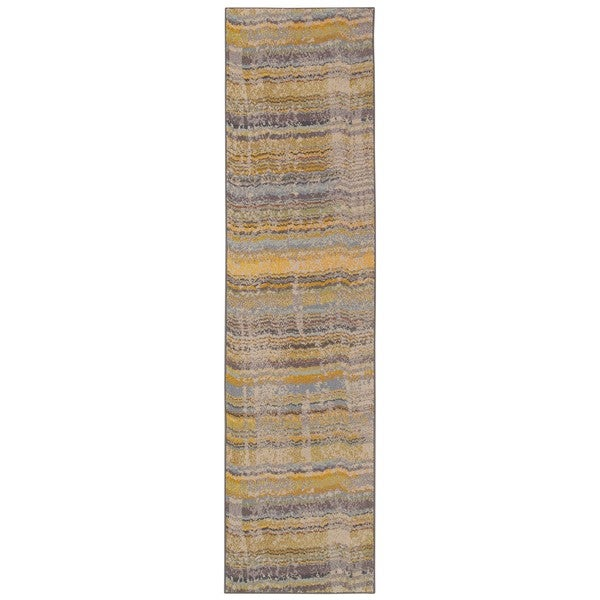 "Carson Carrington Karlskrona Distressed Ikat Yellow/ Grey Area Rug - 2'7"" x 10' Runner"