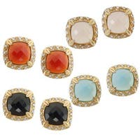 Michael Valitutti Two-tone Choice of Chalcedony and Cubic Zirconia Earrings