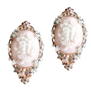 Michael Valitutti Two-tone Floral Cameo and Pink Cubic Zirconia Earrings