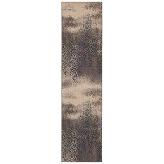 Distressed Motif Grey/ Blue Area Rug (2'7 x 10')