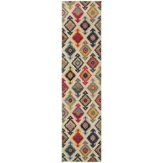 Vibrant Bohemian Ivory and Multicolored Area Rug - 2'7 x 10'