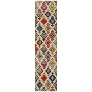 "Vibrant Bohemian Ivory and Multicolored Area Rug (2'7 x 10') - 2'7"" x 10' Runner"