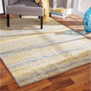 Distressed Ikat Yellow/ Grey Area Rug (4' x 5'9)