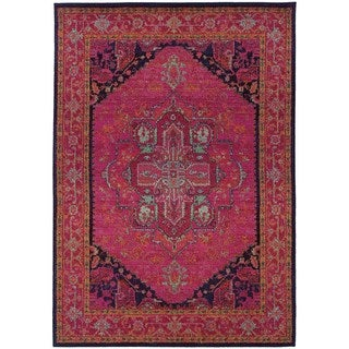 Updated Traditional Pink/ Blue Area Rug (4' x 5'9)