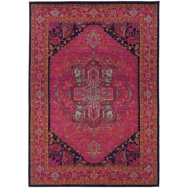 updated traditional pink blue area rug 4 39 x 5 39 9 free shipping today 15615817. Black Bedroom Furniture Sets. Home Design Ideas