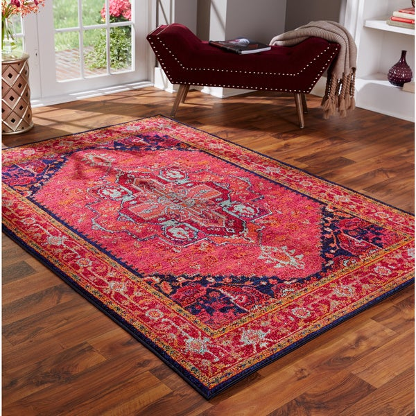 Updated Traditional Pink Blue Rug 5 3 X 7 6 Free