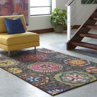 Vibrant Floral Grey and Multicolored Area Rug (4' x 5'9) - 4' x 5'9