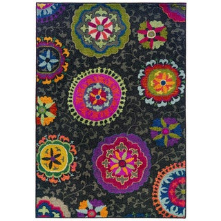 Vibrant Floral Grey/ Multi Rug (5'3 x 7'6)