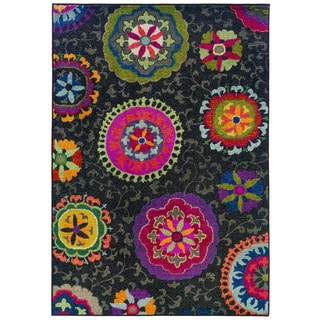 Vibrant Floral Gray/ Multi 100-percent Rug (6'7 x 9'1)