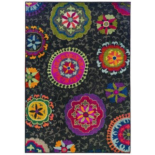 Vibrant Floral Grey/ Multi Rug (7'10 x 11')