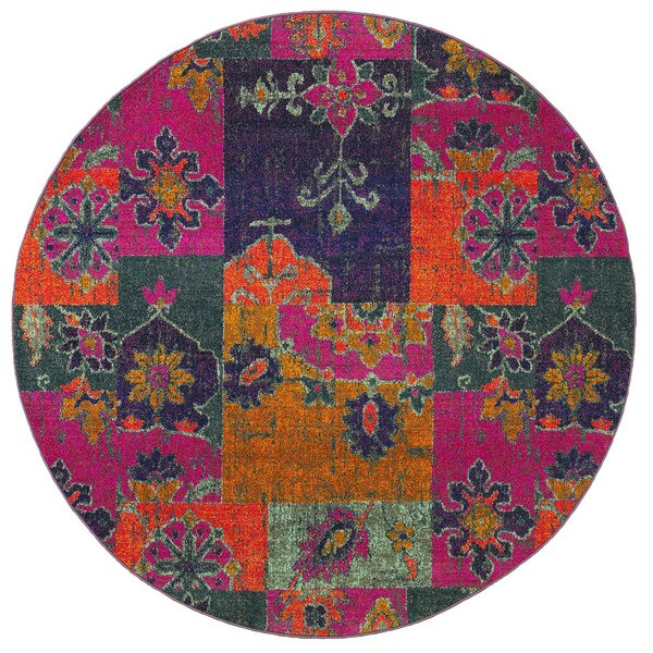 """Bright Patchwork Multi/ Pink Rug (7'8 Round) - 7'8"""" Round"""