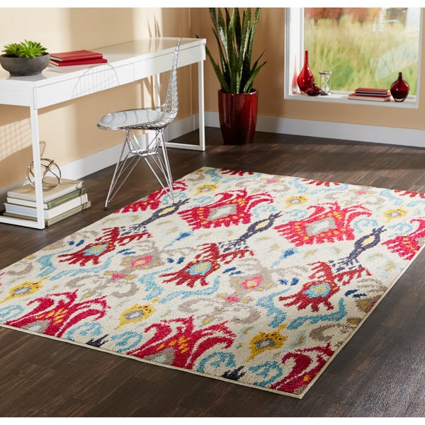 "Vibrant Bohemian Ivory/ Red Rug (6'7 x 9'1) - 6'7"" x 9'1"""