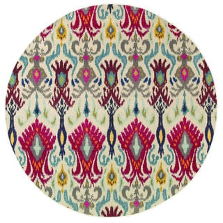 Vibrant Bohemian Ivory/ Red Rug (7'8 Round)
