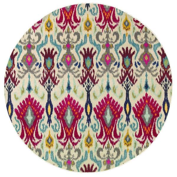 "Vibrant Bohemian Ivory/ Red Rug (7'8 Round) - 7'8"" Round"