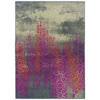 Distressed Motif Gray/ Pink Area Rug - 7'10 x 11'