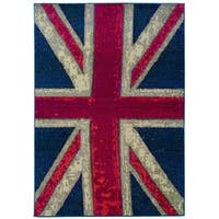 Modernized Union Jack Navy and Pink Area Rug - 4' x 5'9