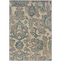 Distressed Floral Ivory/ Blue Rug - 5'3 x 7'6