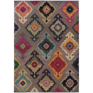 Vibrant Bohemian Grey and Multicolored Area Rug (4' x 5'9)