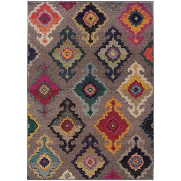 Vibrant Bohemian Geometric Pattern Gray/ Multicolored Rug (9u0026#x27 ...