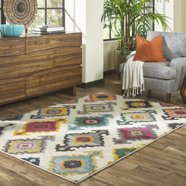 Vibrant Bohemian Ivory And Multicolored Area Rug 4 X 5 9