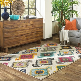 Vibrant Bohemian Ivory and Multicolored Area Rug (4' x 5'9) - 4' x 5'9""