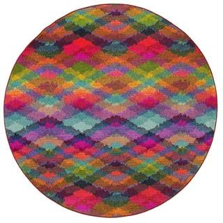 Bold Argyle Contemporary Multi/ Pink Rug (7'8 Round)