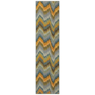 Vibrant Ikat Yellow and Blue Area Rug (2'7 x 10')