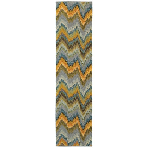 Shop Vibrant Ikat Yellow And Blue Area Rug 2 7 X 10 2 7 X 10