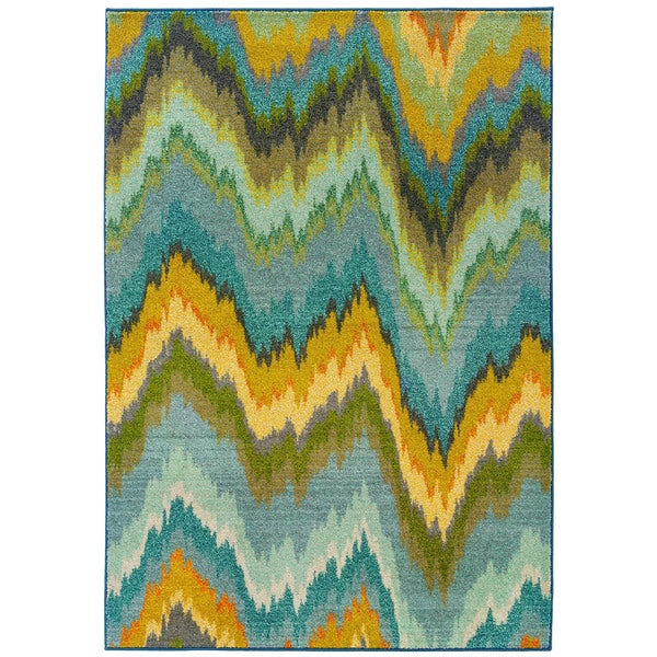 Vibrant Ikat Yellow/ Blue Rug (5'3 x 7'6)